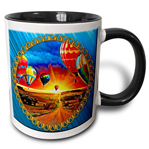 Novelty Ceramic Mug 11 oz Funny Coffee Mug Unique Gift () Hot Air Balloons And Beautiful Sky Background Bright Blue Background And Jewel Frame Two Tone Black Mug Coffee Cup Handle for Men Women