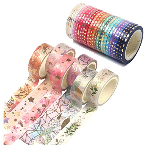 GIHENHAO 30 Rollos Washi Tape Set,Set de cinta Washi floral dorado,cinta adhesiva decorativa Washi Glitter Adhesivo de Cinta Decorativa para DIY Crafts Scrapbooking
