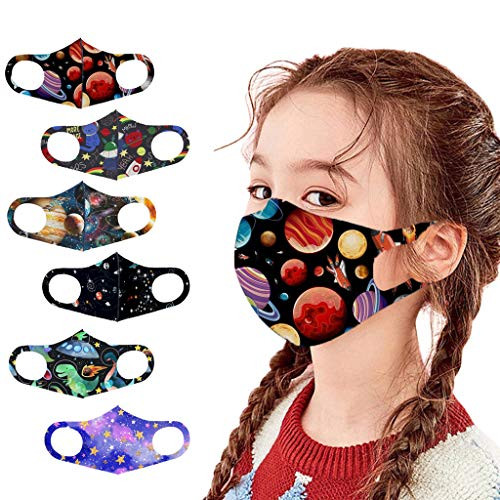 6Pcs Kids Color Starry Sky face_mask,Reusable Washable and Adjustable Cotton Fabric with Cute Cartoon Printed Design,Comfortable and Breathable,Dustproof Face Guards for School Outdoor for Children