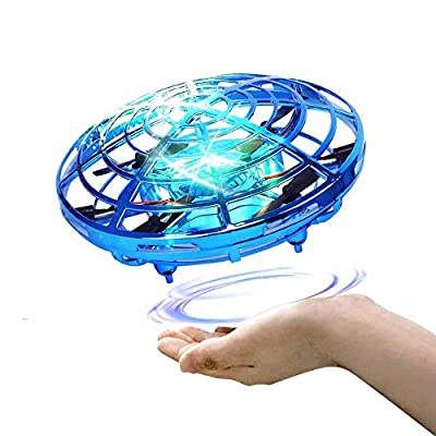UFO Mini Drone for Kids, Hand Control Helicopter Quadcopter Infrared Induction Rechargeable Aircraft Flying Ball Toys Indoor/Outdoor Games Gifts for Girls Boys Indoor Outdoor Flying Ball Toys (Blue)