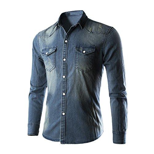 Xmiral Shirt Herren Jeanshemd Cowboy Bluse Schlank Dünn Langarm Oberteile Retro Jeansoberteil Denim Slim Fit Knopf Umlegekragen Bluse (Blau,L3)