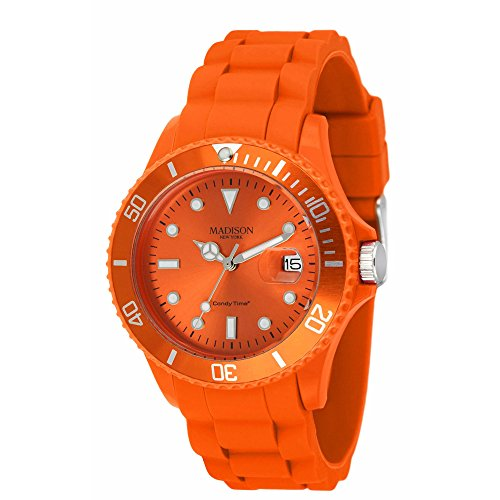Madison New York Unisex-Armbanduhr Candy Time Silicon Analog orange U4167-04/2