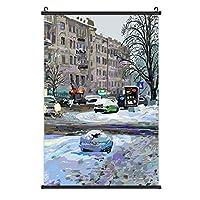 Painting of Winter Kiev City Landscapeポスターハンギングペインティングウッドフレーム装飾壁アートスクロールポスターハンギングホームアートプリント装飾絵画40cm * 60cm