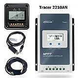 EPEVER 20A MPPT Regulador de Carga Solar 12V/24V Regulador Inteligente de Carga Solar con Medidor Remoto MT50 y Sensor de Temperatura y Cable RS485 - Set Tracer 2210AN