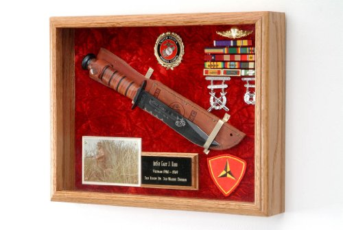 "Military KA-Bar Knife or Pistol Wall Display Case - Shadow Box - 16"" x 12"" x 3"" All Branch of Service Available (USAF Emblem/Blue Velvet)"