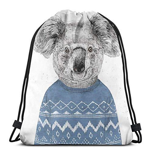 N / A Koala de invierno, mochila con cordón, mochila ligera para mujer, hombre, bolsa de regalo, bolsa de almacenamiento, bolsa de yoga, bolsa de regalo