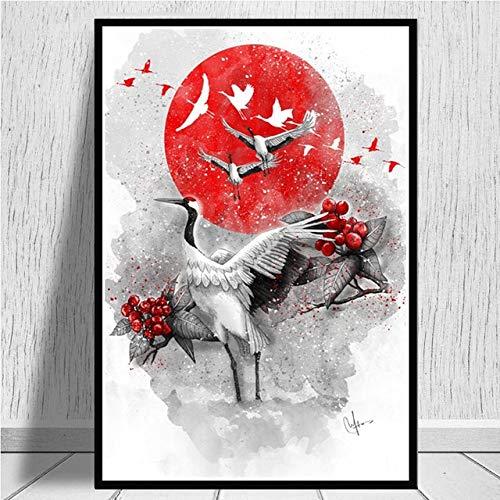 Wandbild dekorative Malerei Wandkunst Malerei Foto Wandbehang Poster drucken heiße japanische Zen Tinte Bushido Samurai Kanji Leinwand Kunst Ölgemälde Wohnzimmer Wandbild 50x70cm ohne Rahmen