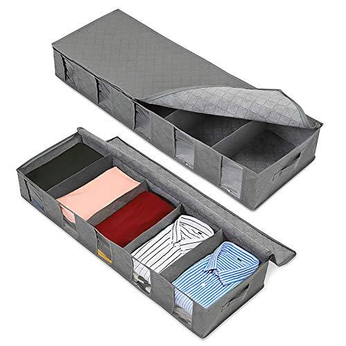 LATTCURE 2Stück Aufbewahrungstasche Faltbare Unterbettkommode Aufbewahrungsboxen, große langlebige für Bettwäsche, Kleidung, Decken, Kissen Quilt Saison Artikel Lagerung