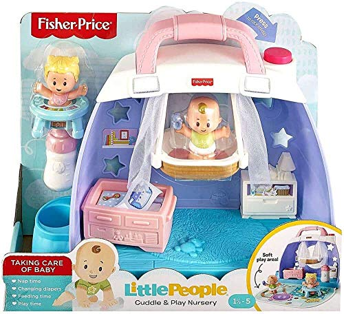 Fisher-Price Little People Babies Cuddle & Play Nursery Playset, Suitable For 18 Months To 5 Year Old-Multicolor