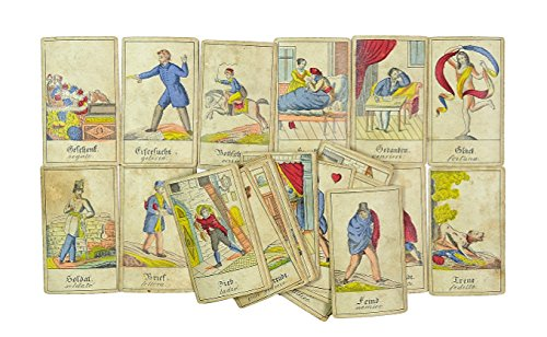 Vollständige biedermeierliche Folge von 32 Wahrsage- bzw. Aufschlagkarten.