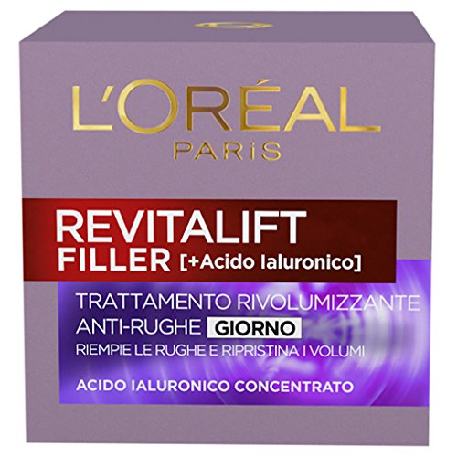 L'Oréal Paris Crema Viso Giorno Revitalift Filler, Azione AntiRughe Rivolumizzante con Acido Ialuronico Concentrato, 50 ml, Confezione da 1