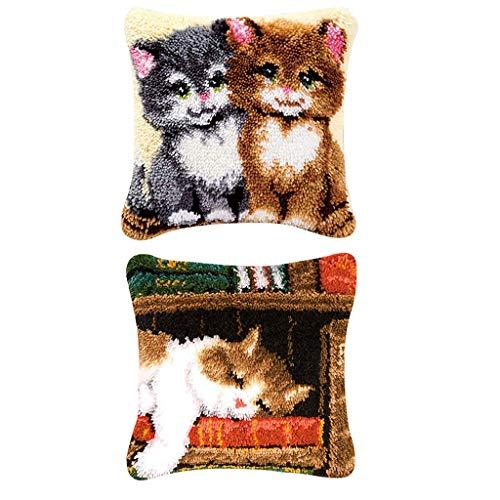 Tubayia 2 Satz DIY Kissenbezug Knüpfkissen Katzen Muster Selber Knüpfen Kissenhülle für Kinder, Erwachsene