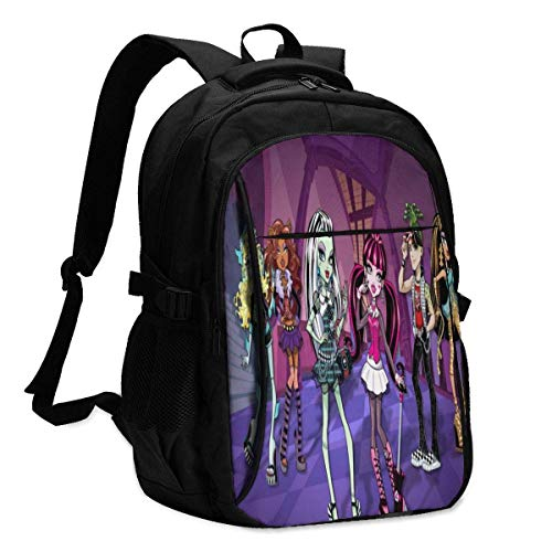 TV Show Monster High Backpack Travel Zaino per laptop con porta di ricarica USB Interfaccia per cuffie College Bookbag per donne uomini ragazzi Business Travel Anti Theft Backpack