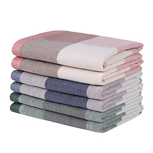 Homaxy 100% Natural Cotton Terry Dish Cloths, 12 x 12 Inch Ultra Soft and Absorbent Dish Towels Quick Drying Plaid Dish Rags, 6pc/Set