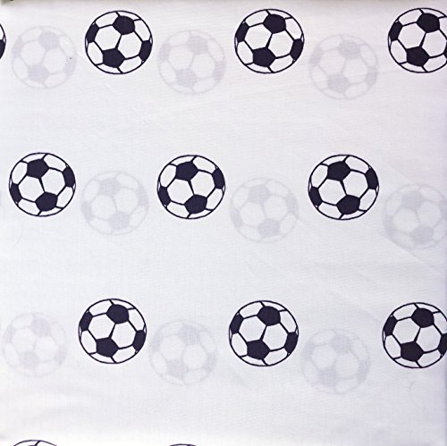 Boy Zone 4 Piece Full Size Double Bed Kids Sheet Set Black and White Sports Soccer Balls