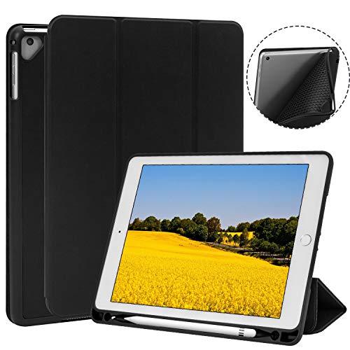 TKOOFN New iPad 2017/2018 9.7 Inch/iPad Pro 9.7/iPad Air/iPad Air 2 Case with Pencil Holder,Soft TPU Trifold Stand with Auto Sleep/Wake,for iPad 5/6 Gen,Black