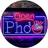 ADVPRO Open Pho Vietnam Noodles Shop Dual Color LED Neon Sign Blue & Red 24 x 16 Inches st6s64-i3655-br