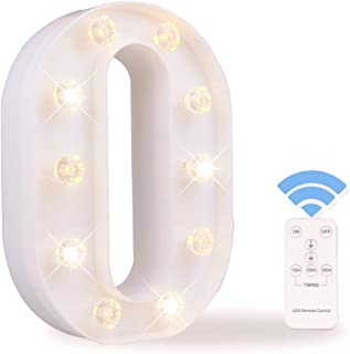 Obrecis LED Letter Lights White Marquee Letters Alphabet Light Up Sign with Diamond Bulbs Remote Control Timer Dimmable Wedding Birthday Party Decoration Letters (O)