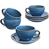 LE TAUCI 6 oz Cappuccino Cups with Saucers,Ceramic Coffee Cup for Au Lait, Double shot, Latte, Cafe Mocha, Tea - Set of 4, Ceylon Blue