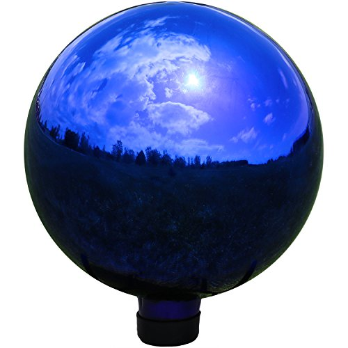 Sunnydaze Garden Gazing Globe Ball, Outdoor Lawn and Yard Glass Ornament, Reflective Blue Mirrored Surface, 10-Inch