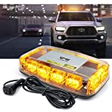 [Upgraded]Lumenix Rooftop Strobe Light, Emergency Safety Hazard Warning Beacon Lights 12' LED Mini Strobe Light Bar w/Magnetic Base for Trucks Snow Plow Cars Postal Construction Vehicles(Amber Yellow)