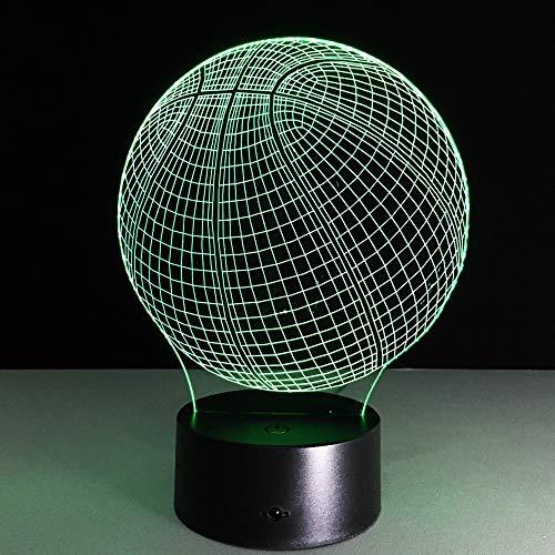 Change Color 3D Illusion Basketball Sculpture Table Lamp Visualization Home Decor Table Lamp Sport Fans