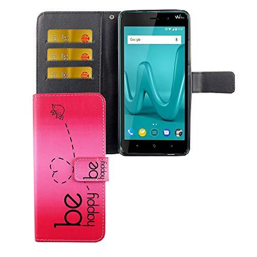 König Design Handyhülle Kompatibel mit Wiko Lenny 4 Plus Handytasche Schutzhülle Tasche Flip Hülle mit Kreditkartenfächern - Be Happy Design Pink