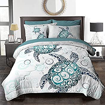 BlessLiving 8 Piece Comforter Set Green Sea Turtle Design All Season Reversible Bedding with 1 Comforter 2 Pillow Shams 1 Flat Sheet 1 Fitted Sheet 1 Decorative Pillow Cover Full