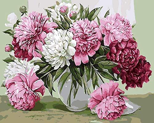 Houten puzzel 1000 stukjes stukjes for Volwassen kinderen educatief Stress Reliever -Bloem plant roze pioen-Modern Home Decor Art Uniek Cadeau 50X75CM
