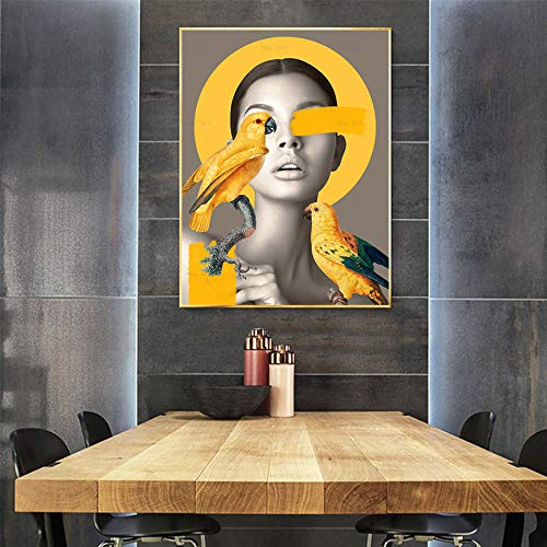 ganlanshu Abstrakte Wanddekoration auf gelbem Leinwand-Chrysanthemenvogelfrauplakat und Druckbild,Rahmenlose Malerei-30X45cm