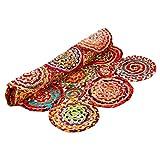Aakriti Gallery Fair Trade - Parche redondo con forma rectangular, hecha a mano de algodón y yute (90 x 60 cm)