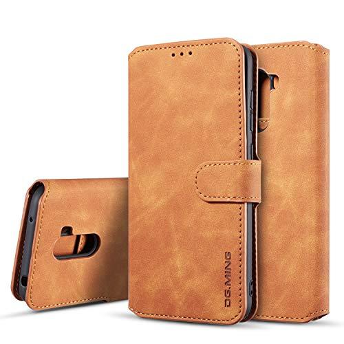 xinyunew Hülle Kompatibel mit Xiaomi Poco F1 Hülle, 360 Grad Handyhülle + Panzerglas Premium Handy Schutzhülle Leder Wallet Tasche Flip Brieftasche Etui Schale (Braun)