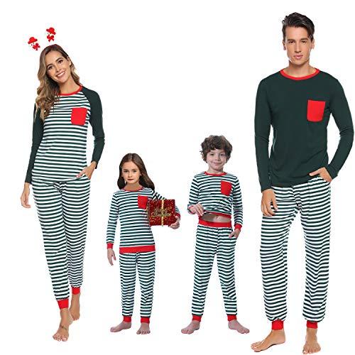 Abollria Matching Family Pajamas Christmas Pajamas Set with Cotton Striped, Sleepwear Pjs Sets for Kids and Couples