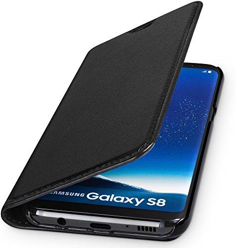 WIIUKA Echt Ledertasche -TRAVEL- für Samsung Galaxy S8 mit Kartenfach, extra Dünn, Tasche Schwarz, Leder Hülle kompatibel mit Samsung Galaxy S8