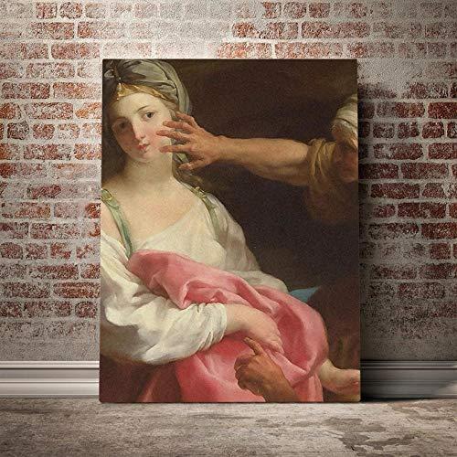 WSHIYI Cuadros Lienzo Barroco Arte de la Pared Pinturas renacentistas Mujer Impreso Cartel clásico Sala de Estar Decoración del hogar 50x70cm (19.7x27.6 Pulgadas) Sin Marco