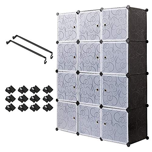 Meerveil Armario, Armario Portatil Armario Modular Tablero de Resina 12 Cubos con Puerta Almacenamiento para Ropa Libro Jugete 111x37x147 cm Negro