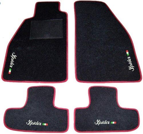 ALFA ROMEO SPIDER 916 von '95 bis '06 Schwarze Fußmatten mit rotem Rand, komplette Teppichmatten mit weißer Fahnenstickerei