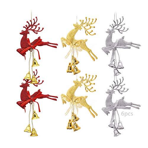 TDCQ 6pcs Lindo Alce Adornos Colgantes,Navidad Ciervos Colgante,Forma de Alce de árbol,Forma de Alce de árbol,Navidad Ciervos Colgante Adornos,Navidad Adornos Colgantes