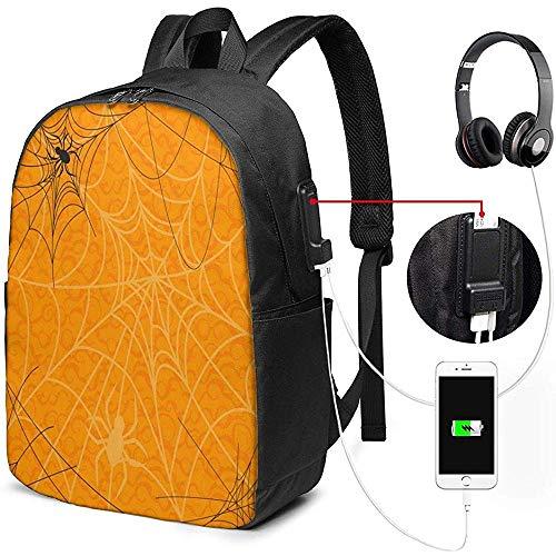 Kinderrucksäcke,Halloween Spinnennetz USB Rucksack Robuster Reiserucksack Umhängetasche Mit Seitentaschen Und Bequemem Gurt Zum Klettern, Wandern Und Reisen