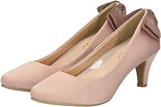 [Parade] 結婚式 パンプス 疲れない 太ヒール 靴 バックリボン 6センチヒール ベージュ ゴールド シルバー ブラック 黒 ネイビー ピンク アイボリー 総レース お呼ばれ 極ふわっ 18161