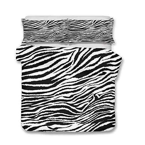 Juego de Ropa de Cama para Familiar, Morbuy 3D Resumen Graffiti Leopardo Impresión Microfibra Fundas de Edredón con Funda Nórdica y Funda de Almohada (Cama 90-150x200cm,Patrón De Cebra)