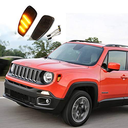 wowowa Kit de luz de Marcador Frontal ámbar con Bombilla LED ámbar de 2 Piezas para Jeep Renegade 2015-up, reemplazar Las lámparas de Marcador Lateral ámbar OEM 12V
