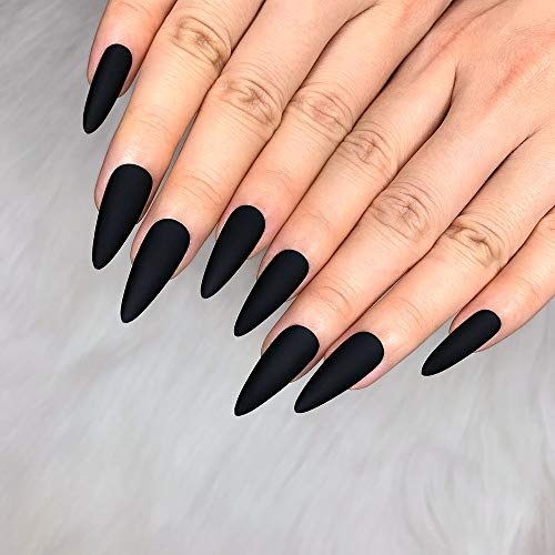 Morily 24pcs Fake Nails Matte Pure Color Medium Long Stiletto Almond Press on Nail False Tips Artificial Finger Manicure for Women and Girls (Black)