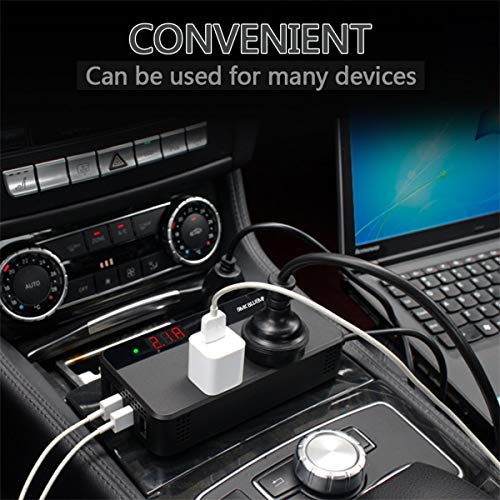 BMK 200W Car Power Inverter DC 12V to 110V AC Car Inverter 4 USB Ports Charger Adapter Car Plug Converter with Switch and Current LCD Screen