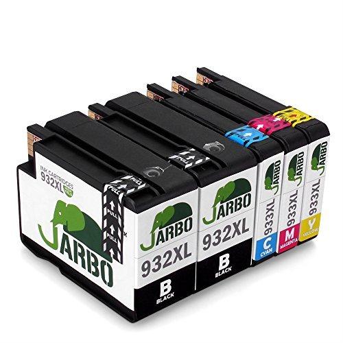 JARBO 932 XL 933 XL Cartucce Compatibili HP 932XL 933XL Compatibile con HP Officejet 6600 6700 6100 7612 7610 7110, Confezione da 5 (2 Nero,1 Ciano,1 Magenta,1 Giallo)