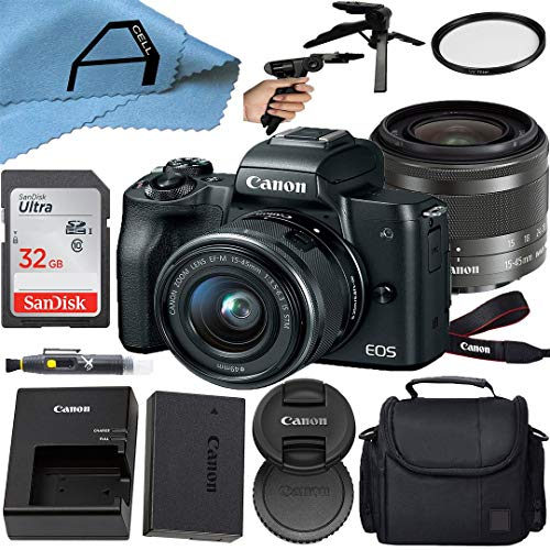 Canon EOS M50 Compact Mirrorless Digital Camera with EF-M 15-45mm is STM Zoom Lens, SanDisk 32GB Memory Card, Case, Tripod and A-Cell Accessory Bundle (Black)