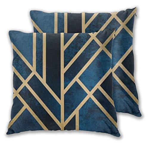 Kissenbezug Art Deco Midnight Serviertablett Set von 2 quadratischen Kissenbezügen für Sofa, Stuhl, Couch/Schlafzimmer, dekorative Kissenbezüge