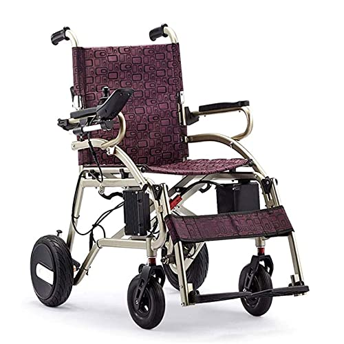 FGVDJ Silla de Ruedas eléctrica Inteligente, Ligero, Plegable, silencioso con Freno de Mano, Pedal Desmontable, Scooter portátil