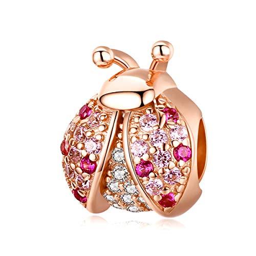 Charm de pájaro de plata esterlina joyería de moda Animal Charm Bead para pulseras Pandora (oro rosa mariquita encanto cuentas)