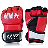 Luniquz MMA Gloves for Kids Adults Punching Bag Boxing Sparring Grappling, Half Finger with Thick Padding Long Wrist Wrap, S/Red